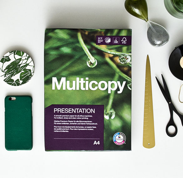 Multicopy Presentation on a desk with attributes